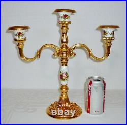 Royal Doulton Royal Albert Old Country Roses 3 Arm CANDELABRA Candle Holder Gold