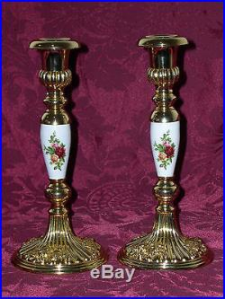 Royal Doulton/Royal Albert Old Country Roses Candle Holders (2) VERY RARE