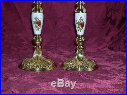 Royal Doulton/Royal Albert Old Country Roses Candle Stick Holders (2) VERY RARE