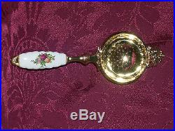 Royal Doulton/Royal Albert Old Country Roses Gold Plated Tea Strainer VERY RARE
