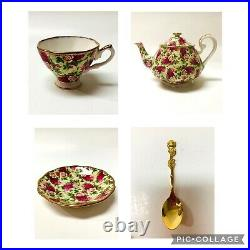 SET Royal Albert Old Country Roses Chintz Teapot teacup saucer with spoons