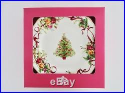 Set of 4, Royal Albert Old Country Rose Christmas Tree Bone China Dinnerware