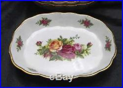 Set of 8 Royal Albert Old Country Roses Oval Sweet Meat Individual Dish / Bowl