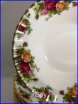 Set of EIGHT Royal Albert ENGLAND Old Country Roses 5 1/4 Rim Soup Bowls