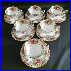 Six Royal Albert Old Country Roses Avon Shaped Tea Cups, Saucers & Plates Vgc