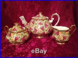 Teapot Creamer Sugar Set Royal Albert Old Country Roses Chintz England Rare