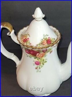 VTG ROYAL ALBERT Bone China England OLD COUNTRY ROSE 9 1/2h 5 Cup Coffee Pot