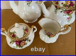 Vintage Royal Albert OLD COUNTRY ROSES Coffee Pot / Tea Pot/ Sugar & Creamer Set