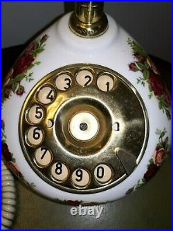 Vintage Royal Albert Old Country Roses Porcelain Brass Rotary Dial Phone