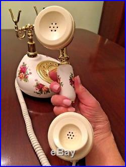 Vintage Royal Albert Old Country Roses Rare US Push Button Cradle Telephone