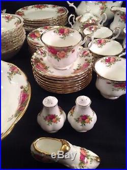 Vtg 1962 Royal Albert Old Country Roses 64 Pieces Dinnerware Crystal Stemware